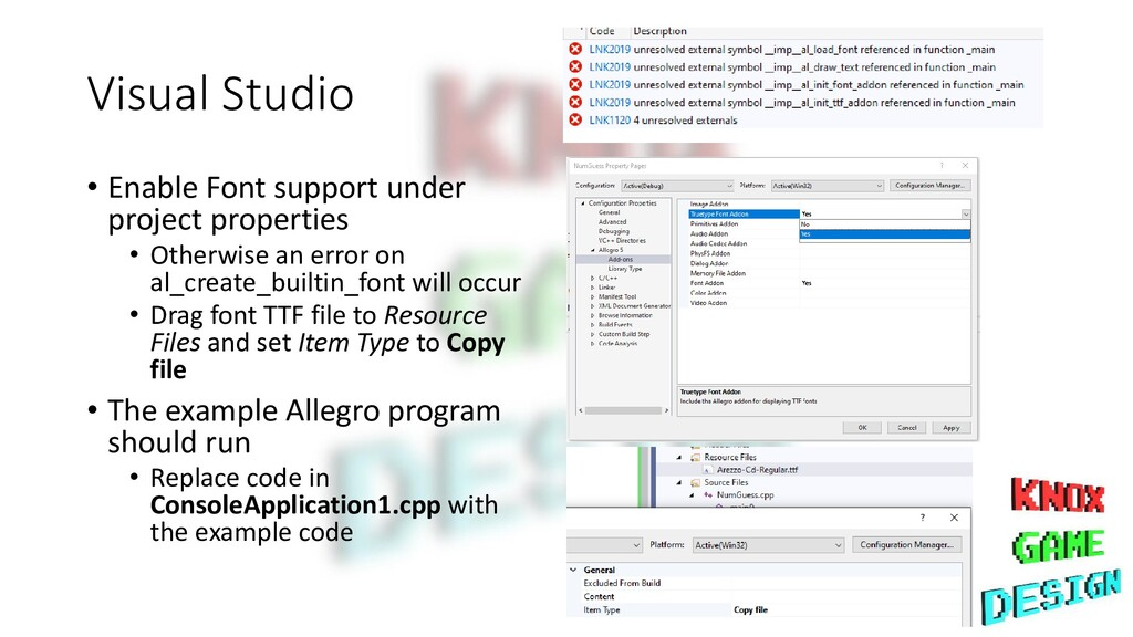 Visual Studio • Enable Font support under proje...