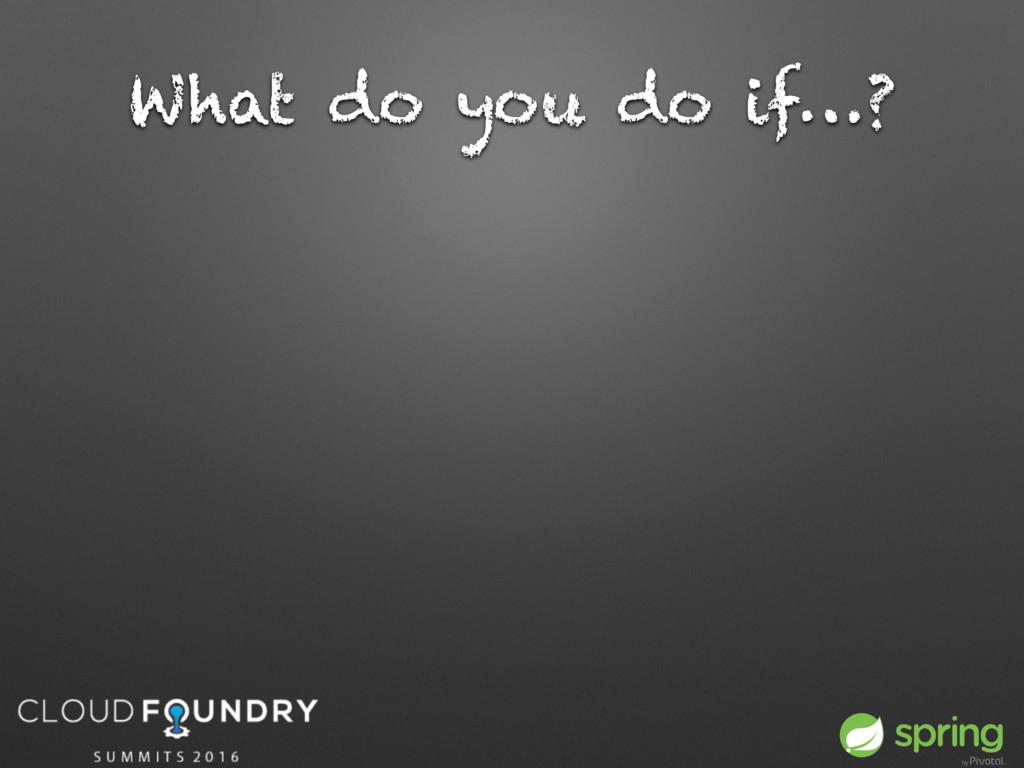 What do you do if…?