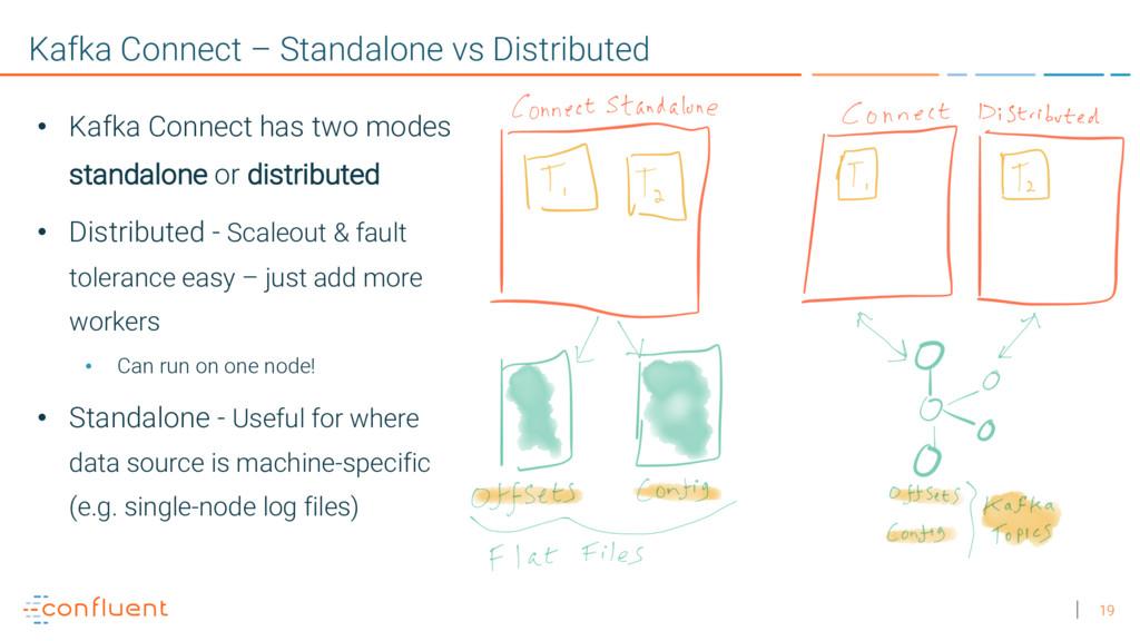 19 Kafka Connect – Standalone vs Distributed • ...