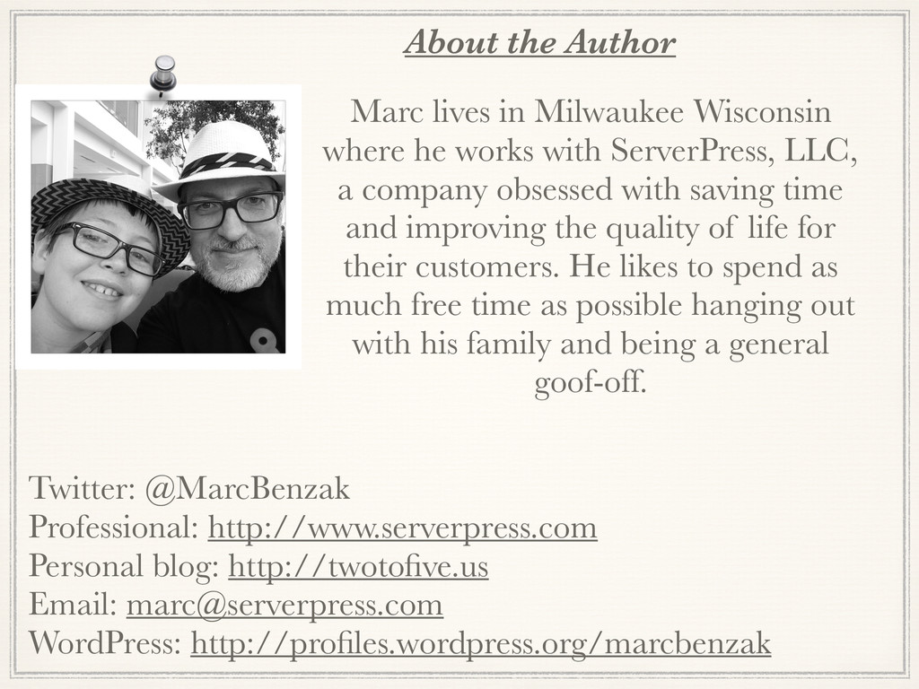 About the Author Marc lives in Milwaukee Wiscon...