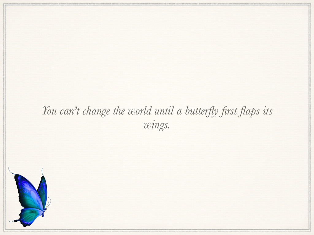 You can't change the world until a butterfly firs...