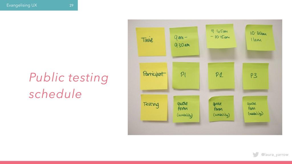 Evangelising UX @laura_yarrow 29 Public testing...