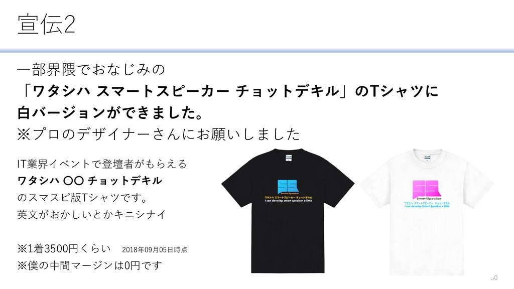 宣伝2 一部界隈でおなじみの 「ワタシハ スマートスピーカー チョットデキル」のTシャツに 白...