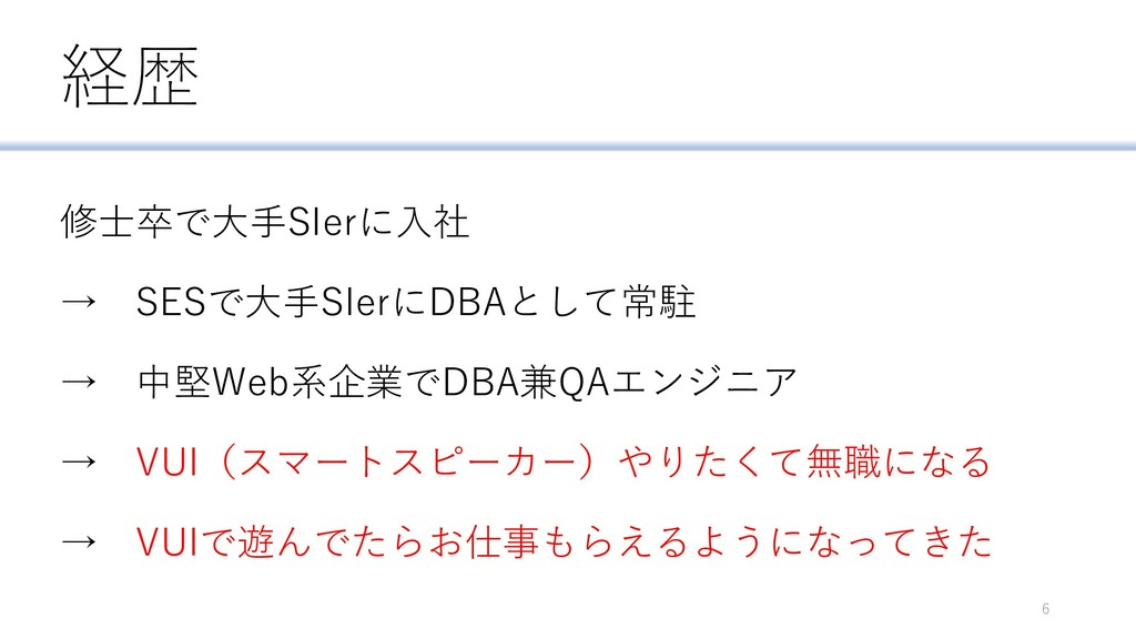 経歴 修士卒で大手SIerに入社 → SESで大手SIerにDBAとして常駐 → 中堅Web系...