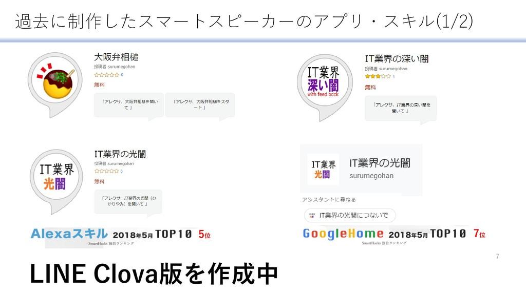 7 5位 7位 過去に制作したスマートスピーカーのアプリ・スキル(1/2) LINE Clov...