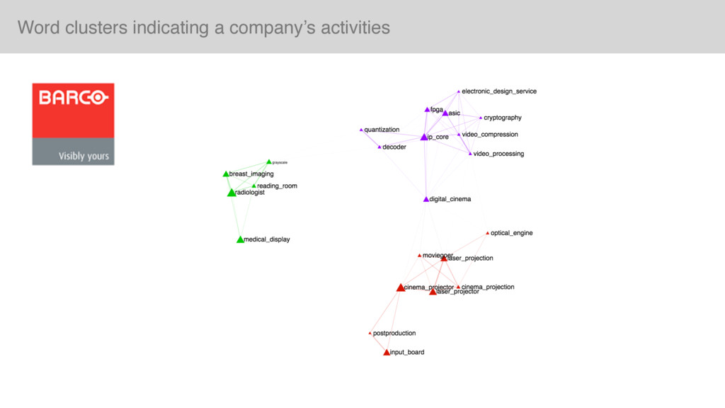 Word clusters indicating a company's activities