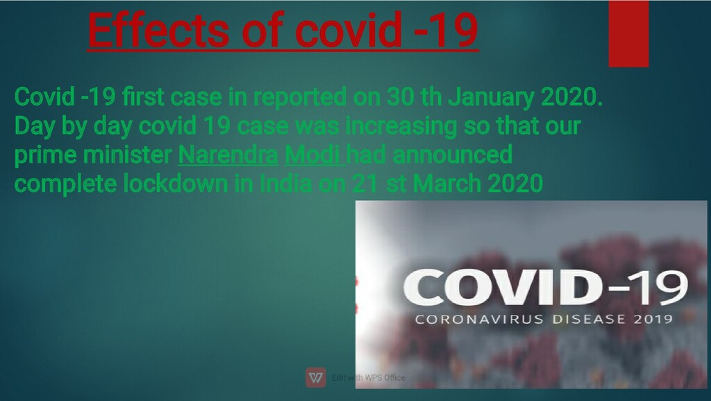 Effects of covid -19 Covid -19 first case in rep...
