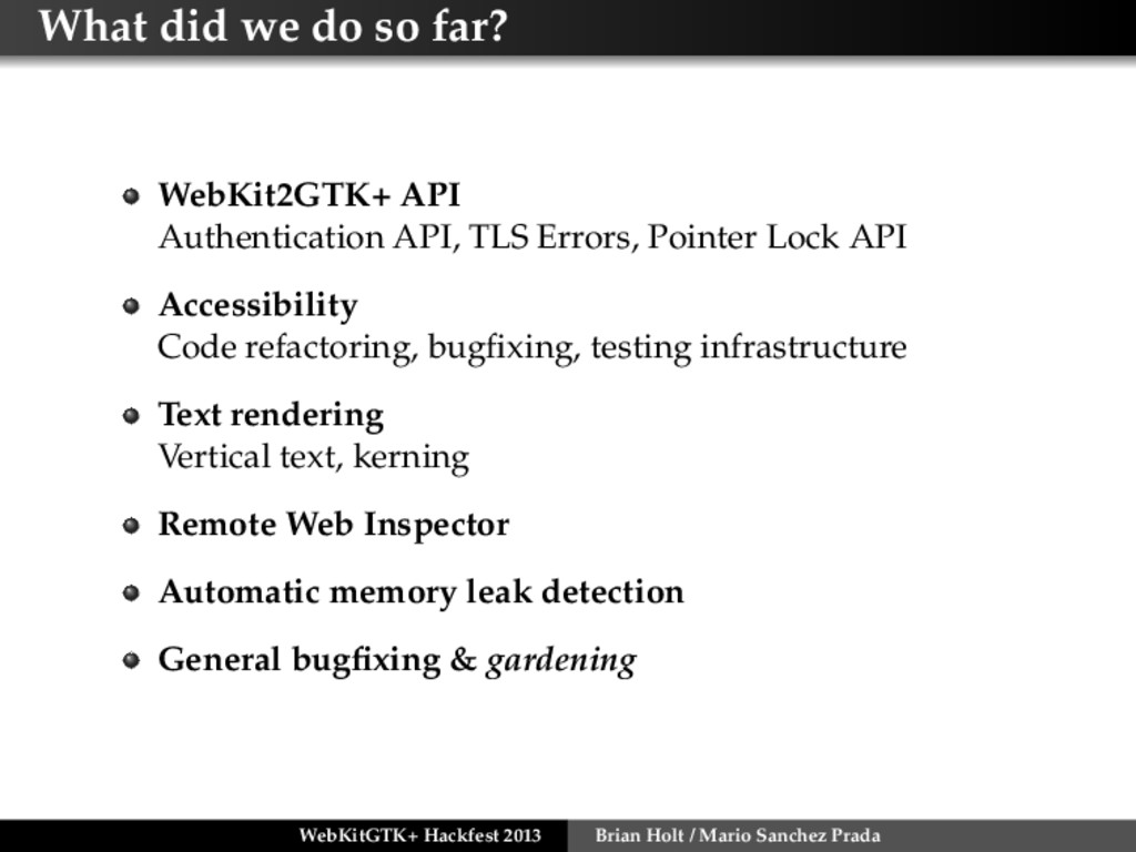 What did we do so far? WebKit2GTK+ API Authenti...