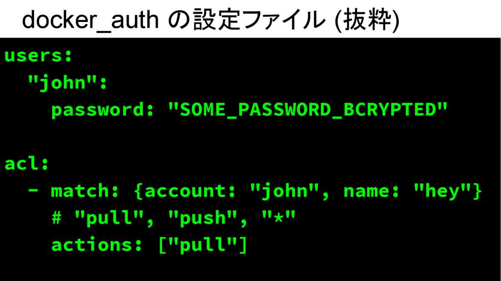 "docker_auth の設定ファイル (抜粋) users: ""john"": passwor..."