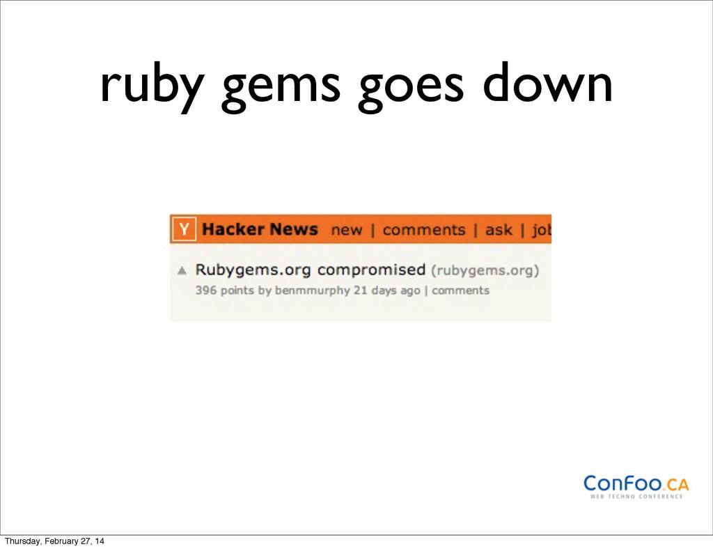 ruby gems goes down Thursday, February 27, 14