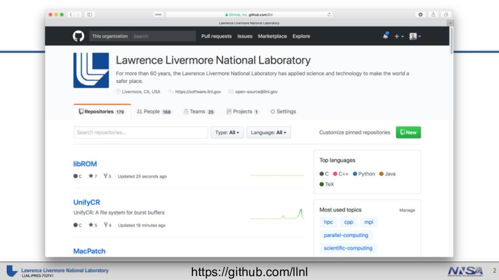 LLNL-PRES-702741 2 https://github.com/llnl