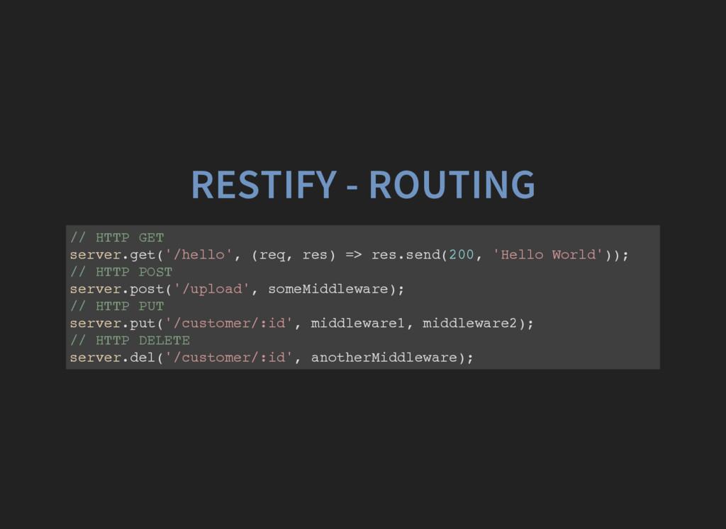 RESTIFY - ROUTING / / H T T P G E T s e r v e r...