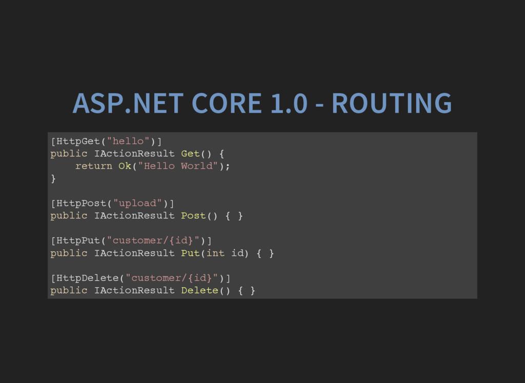 """ASP.NET CORE 1.0 - ROUTING [ H t t p G e t ( """" ..."""