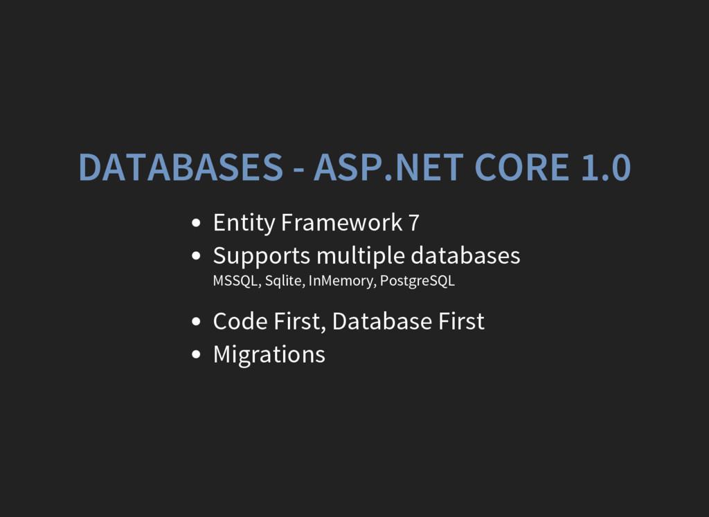 DATABASES - ASP.NET CORE 1.0 Entity Framework 7...