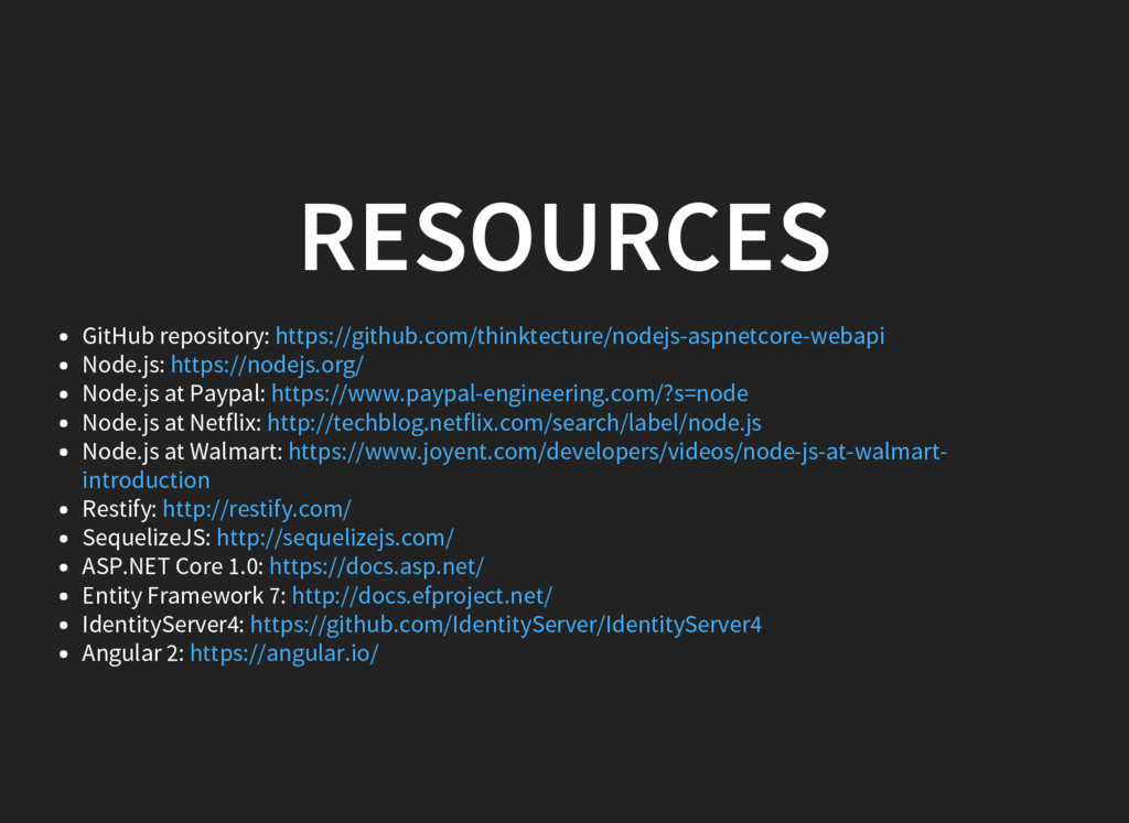 RESOURCES GitHub repository: Node.js: Node.js a...