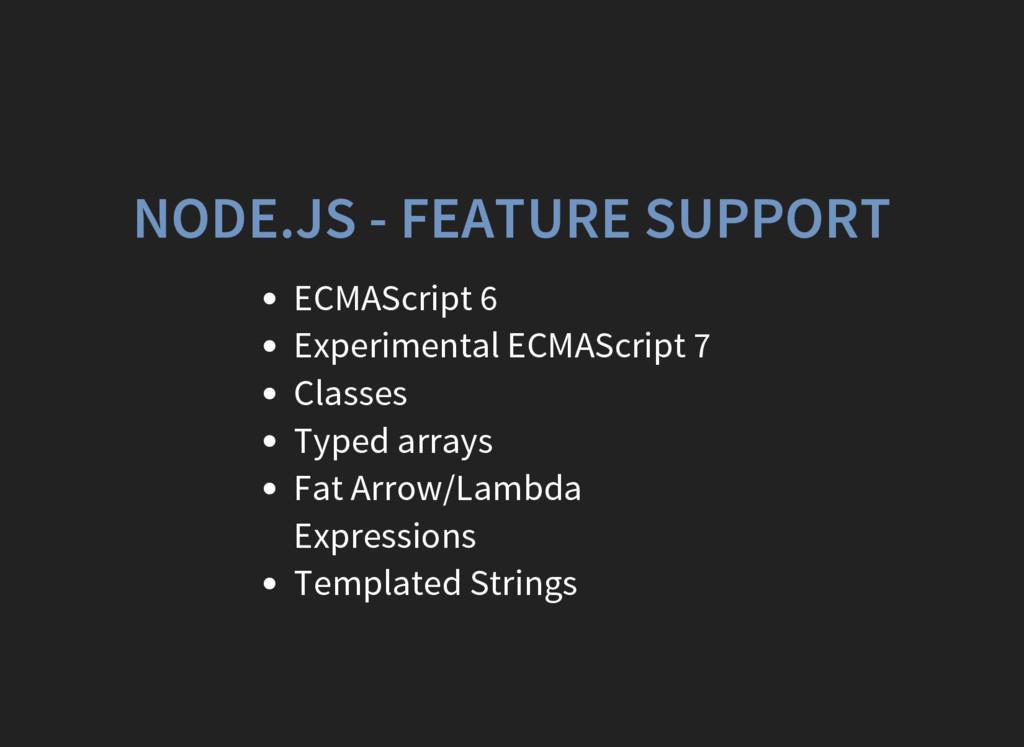 NODE.JS - FEATURE SUPPORT ECMAScript 6 Experime...