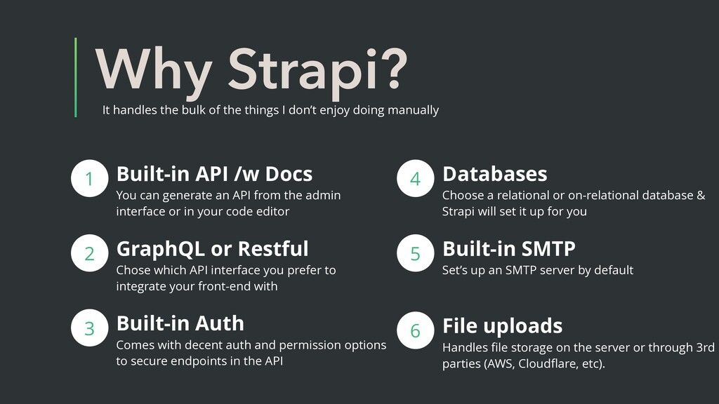 Why Strapi? It handles the bulk of the things I...