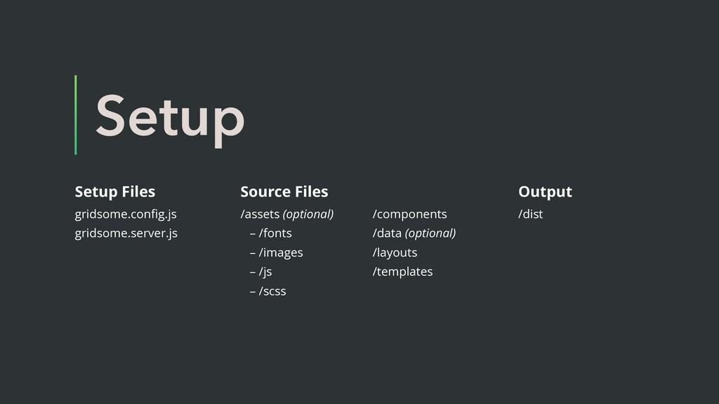 Setup Setup Files gridsome.config.js gridsome.se...