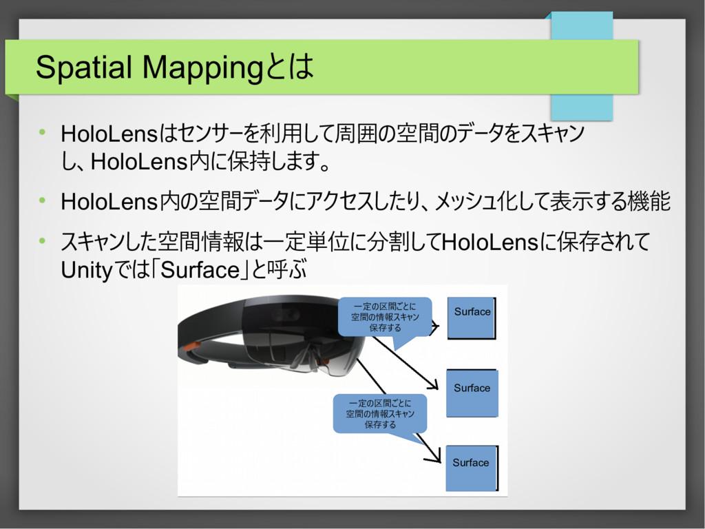 Spatial Mappingとは  HoloLensはセンサーを利用して周囲の空間のデータ...