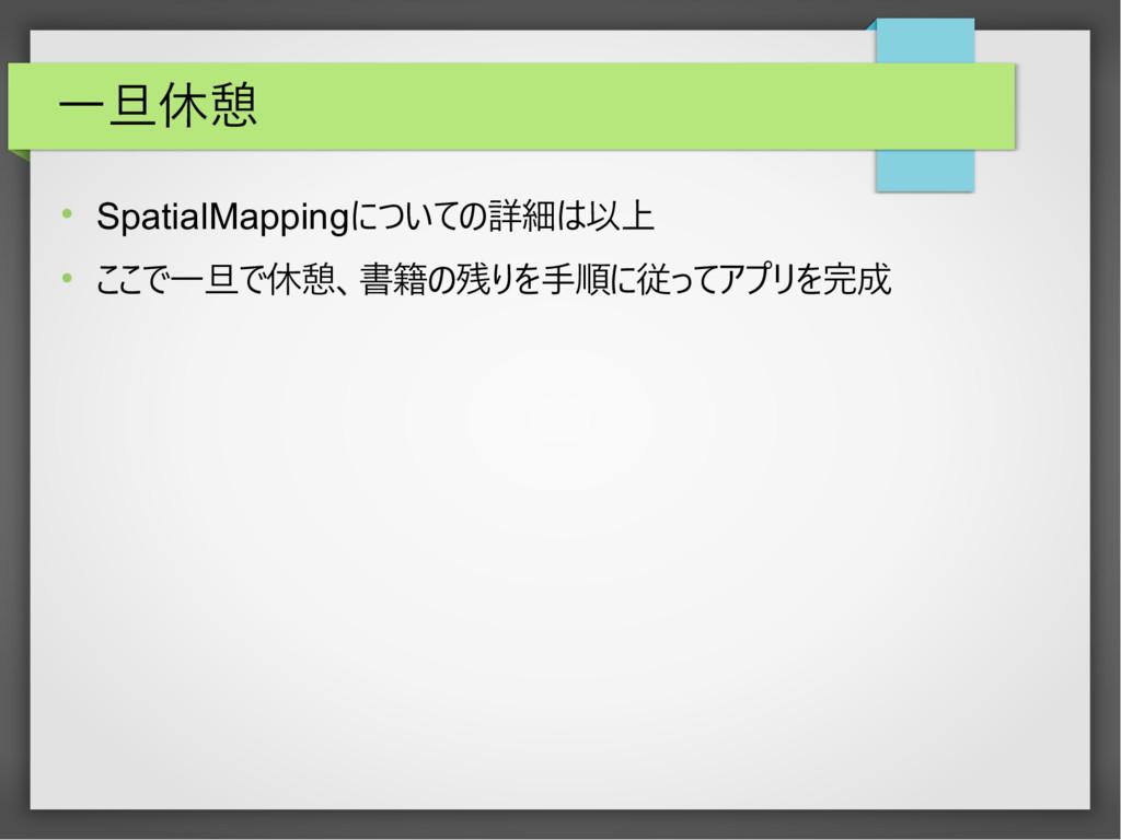 一旦休憩  SpatialMappingについての詳細は以上  ここで一旦で休憩、書籍の残...