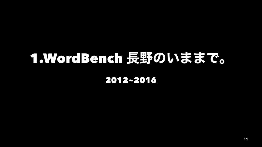 1.WordBench ͷ͍··Ͱɻ 2012~2016 14
