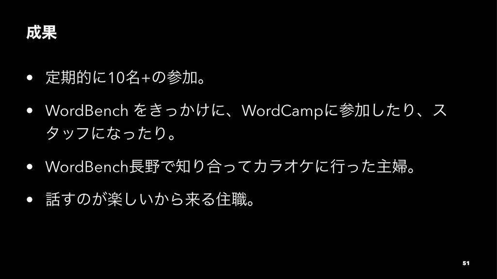 Ռ • ఆظతʹ10໊+ͷՃɻ • WordBench Λ͖͔͚ͬʹɺWordCampʹ...