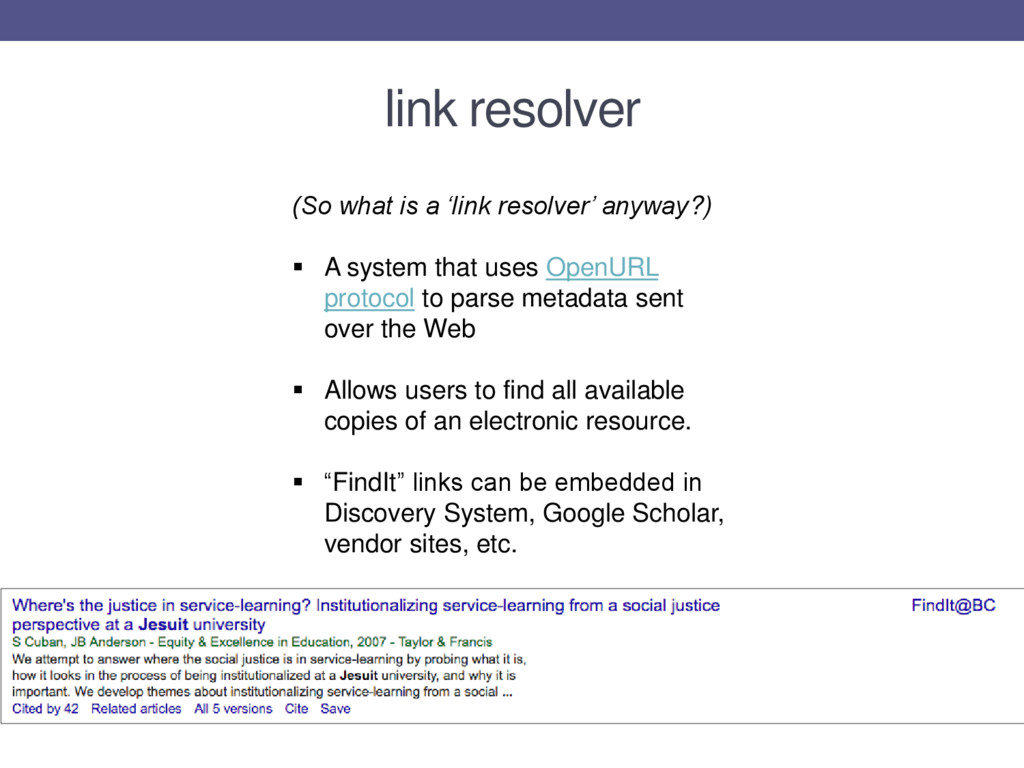 (So what is a 'link resolver' anyway?)  A syst...