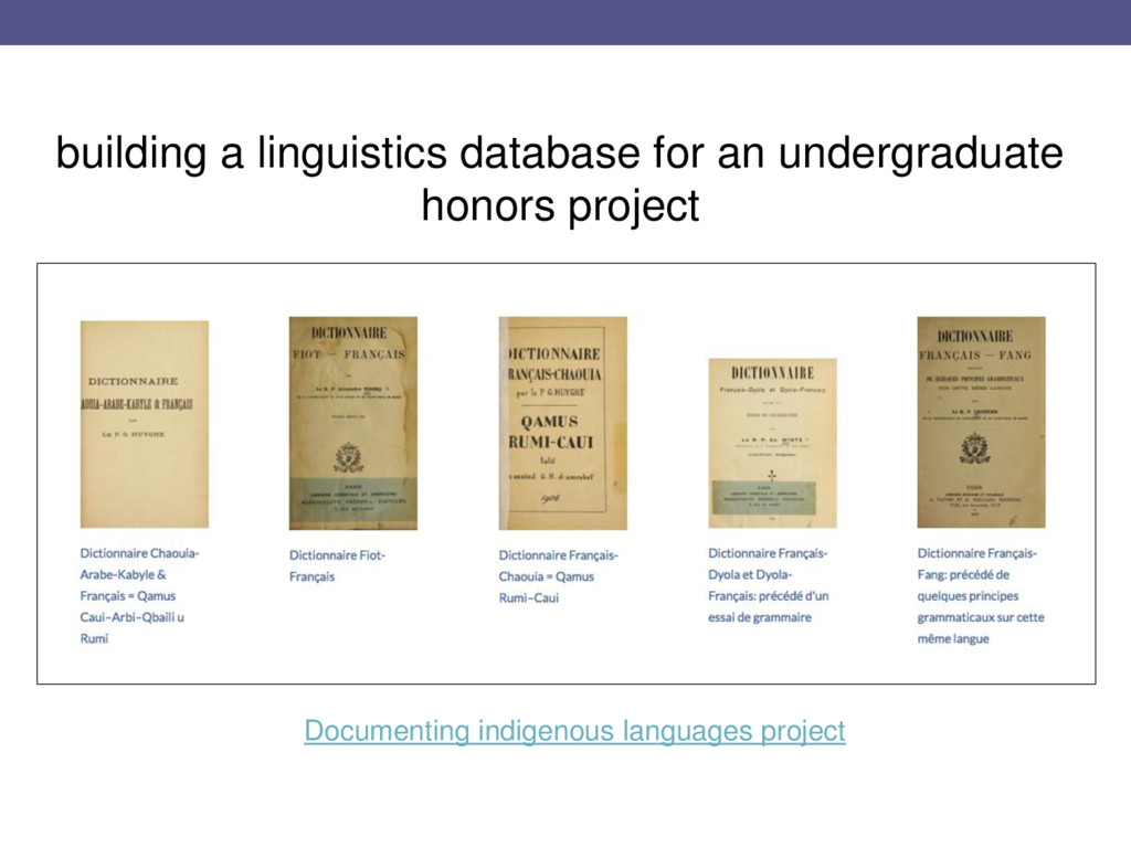 building a linguistics database for an undergra...