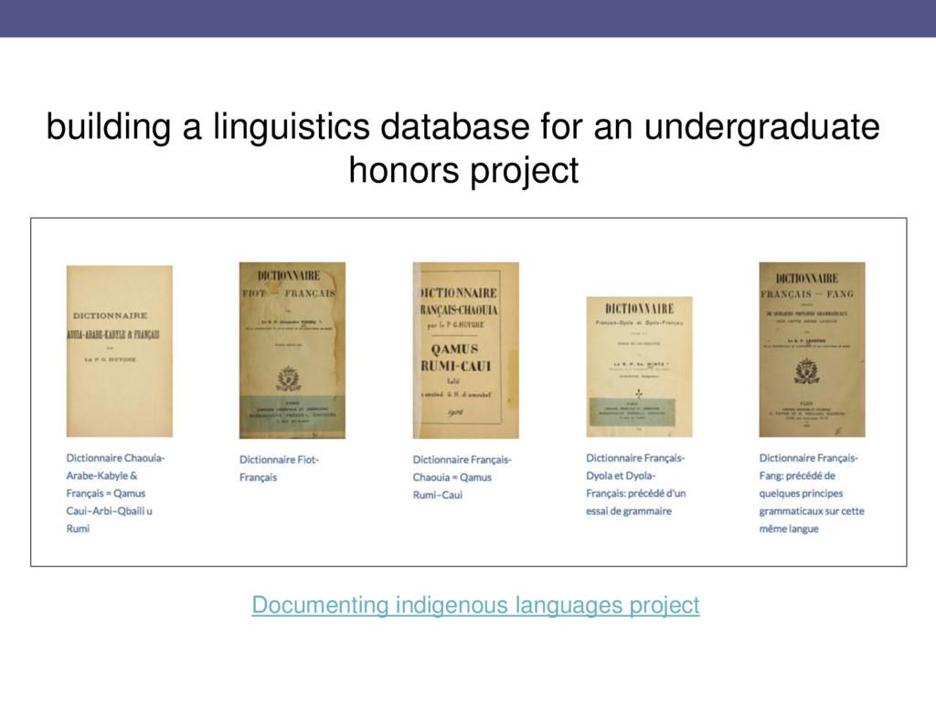 building a linguistics database for an undergra...