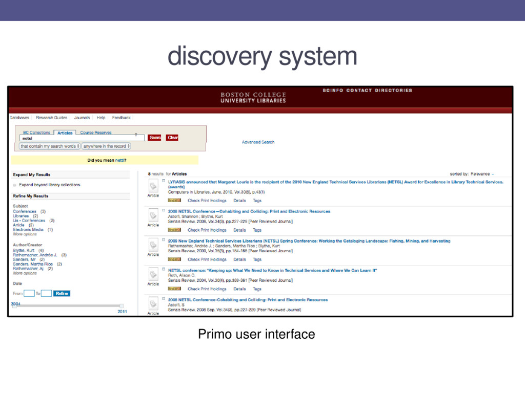 discovery system Primo user interface