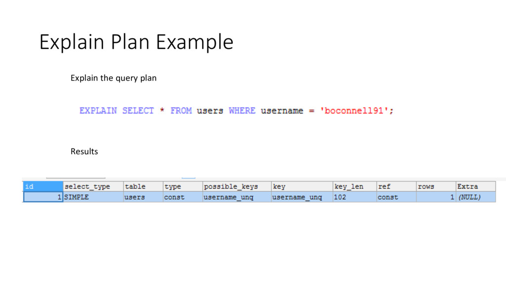 Explain Plan Example Explain the query plan Res...