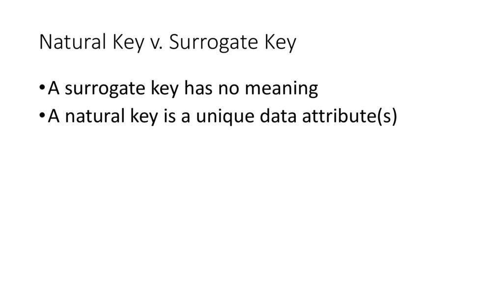 Natural Key v. Surrogate Key •A surrogate key h...