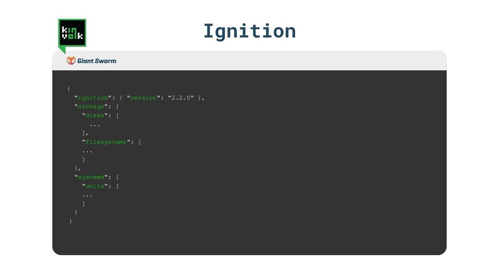 """{ """"ignition"""": { """"version"""": """"2.2.0"""" }, """"storage""""..."""