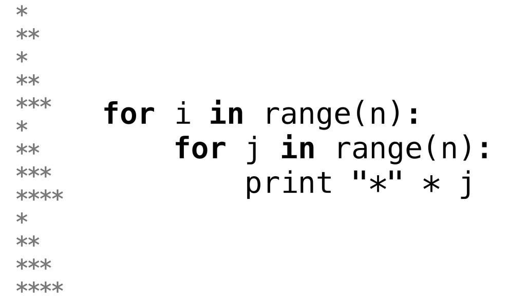 """for i in range(n): for j in range(n): print """"*""""..."""