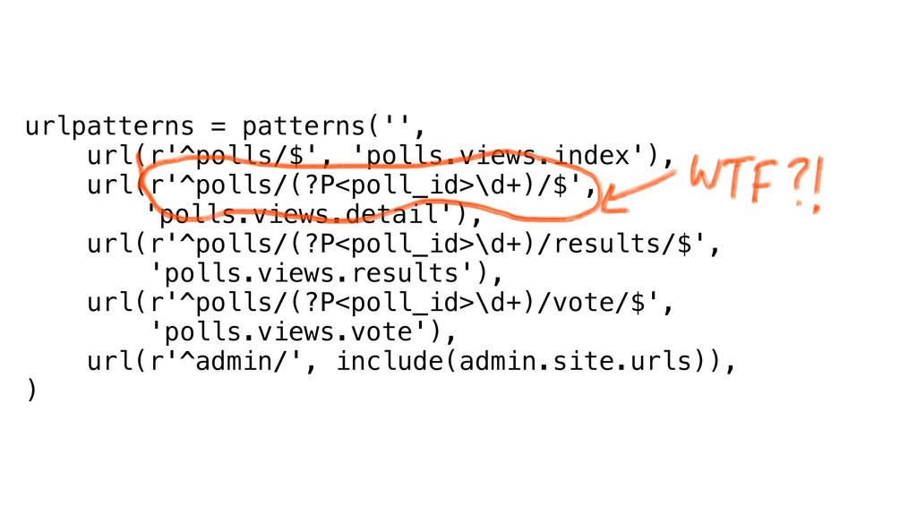 urlpatterns = patterns('', url(r'^polls/$', 'po...