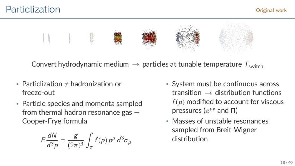 Particlization Original work Convert hydrodynam...