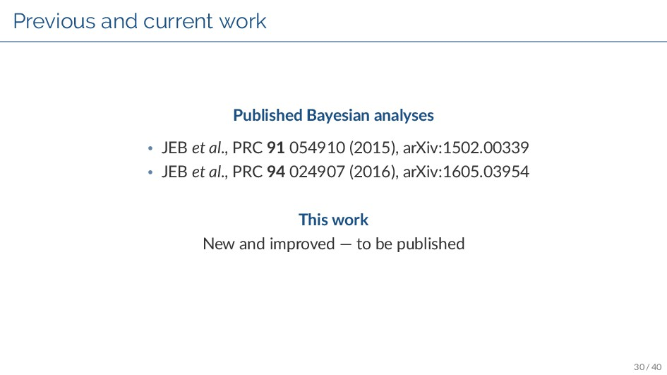 Previous and current work Published Bayesian an...