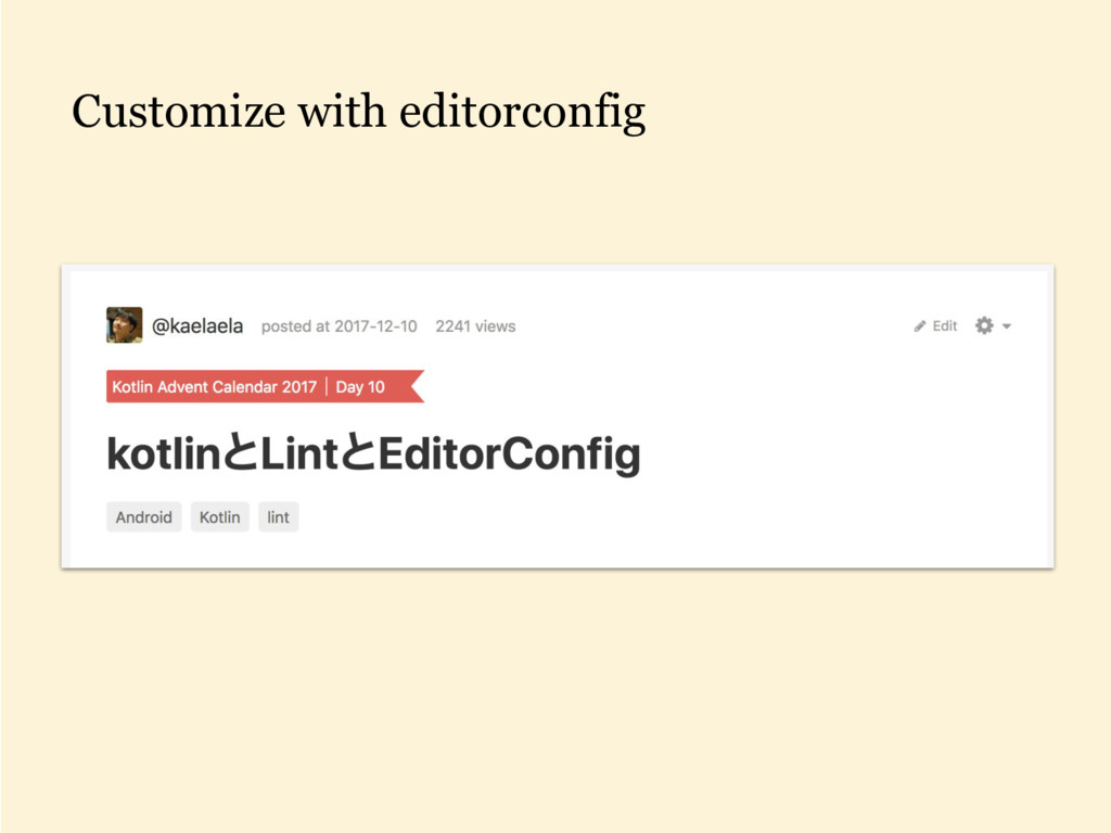 Customize with editorconfig