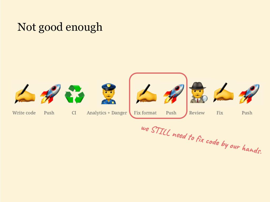 Not good enough Write code Push CI Analytics + ...