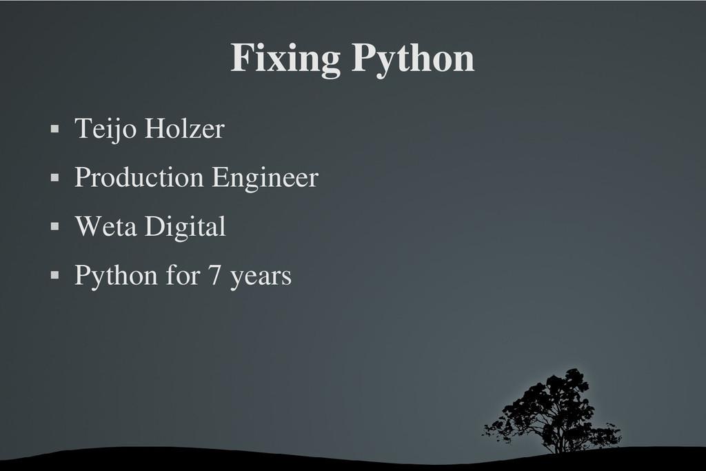 Fixing Python  Teijo Holzer  Production Engin...