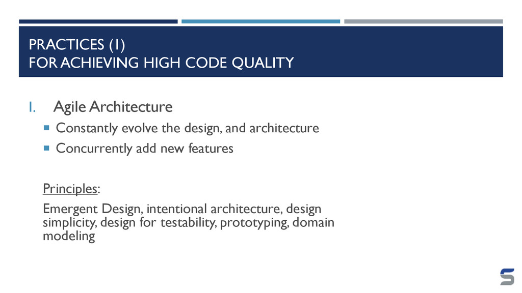 PRACTICES (I) FOR ACHIEVING HIGH CODE QUALITY I...