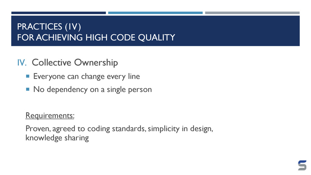 PRACTICES (IV) FOR ACHIEVING HIGH CODE QUALITY ...