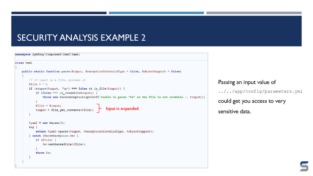 SECURITY ANALYSIS EXAMPLE 2 Input is expanded P...