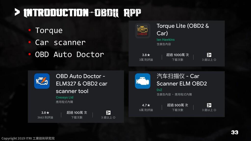 > • Torque • Car scanner • OBD Auto Doctor