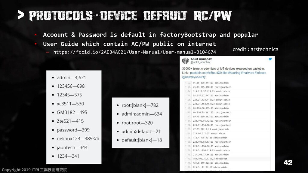 > • Acoount & Password is default in factoryBoo...
