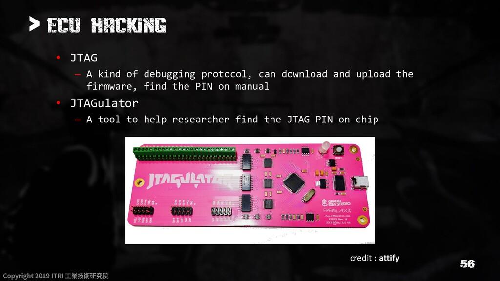 > • JTAG – A kind of debugging protocol, can do...