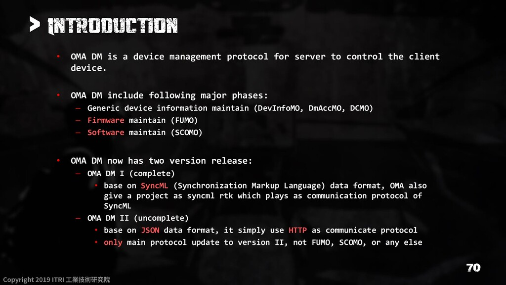 > • OMA DM is a device management protocol for ...