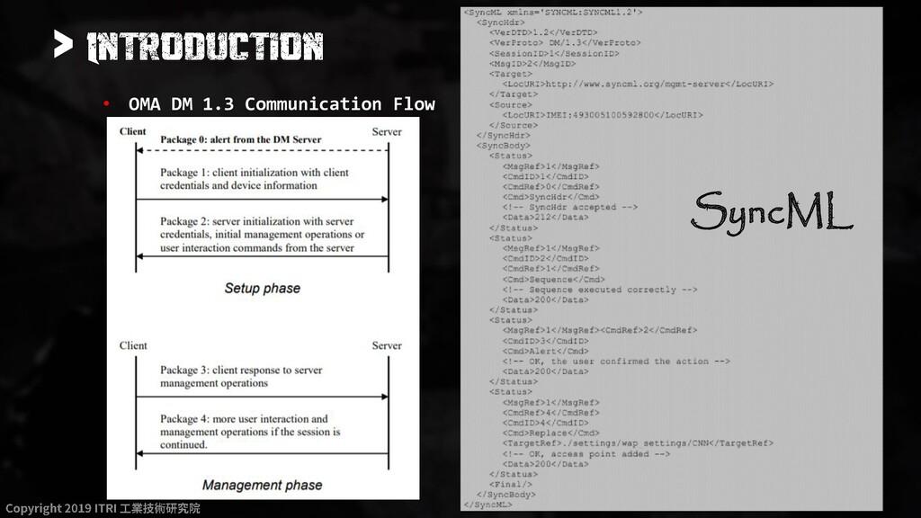 > • OMA DM 1.3 Communication Flow SyncML