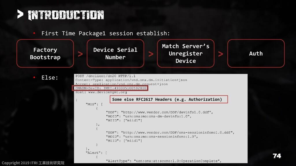 > • First Time Package1 session establish: • El...
