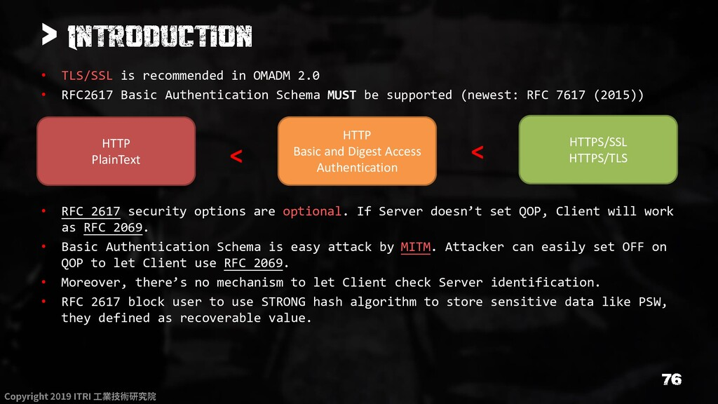 > • TLS/SSL is recommended in OMADM 2.0 • RFC26...